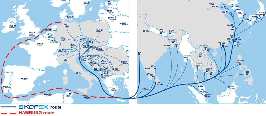ASL service area map / KOPEX - Hamburg route