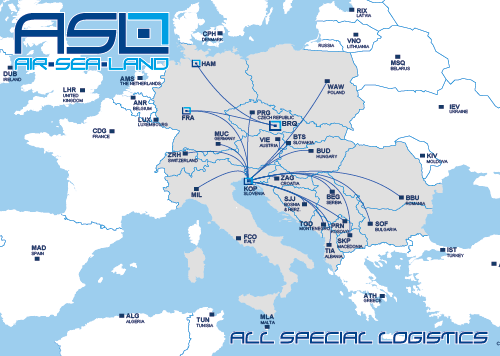 ASL service area map Europe